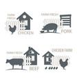 farm chicken pork and cow vector image