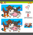 find differences with farm animal characters vector image vector image