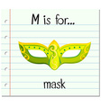 Flashcard letter M is for mask vector image vector image
