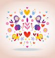 flowers hearts and birds vector image vector image