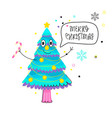 funny greeting card with cartoon fir-tree speech vector image