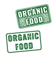 Green realistic Organic food rubber stamp vector image