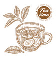 hand drawn cup tea herbal tea with lemon mint vector image