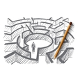 Hand drawn man standing in center of labyrinth vector image vector image