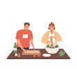 happy couple cooking vegetable salad together vector image vector image
