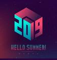 hello summer 2019 party futuristic design posters vector image vector image