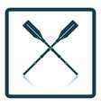 icon of boat oars on gray background round shadow vector image vector image