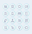 kitchen icons set in line style vector image