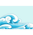 ocean wave in modern oriental style border vector image vector image