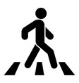 pedestrian on zebra crossing icon black color vector image