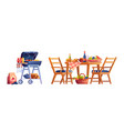 picnic served table bbq food and drinks basket vector image
