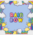 rainbow with differents shapes and clouds vector image