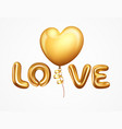 realistic balloons letter love vector image