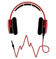 Red and black headphones with cable vector image vector image