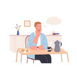 relaxed thoughtful person imagining and dreaming vector image