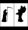 religion silhouette angel and silhouette death vector image vector image