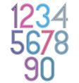 Retro stripes funky numbers set light version vector image vector image