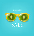 sale poster sunglasses with kiwi and with mint vector image vector image