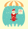 Santa Claus flyiing on parachute in snow blue sky vector image