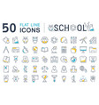 set flat line icons school vector image vector image