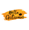 set of lettering phrase hand drawn hello autumn vector image vector image
