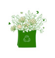 shopping bag with flowers no plastic go green vector image