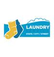 socks on laundry service emblem vector image vector image