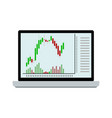 stock chart of candle stick on laptop vector image