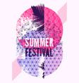 summer festival typographic grunge vintage poster vector image
