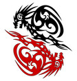 tattoo silhouette two dragon sketch vector image vector image