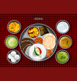 traditional assamese cuisine and food meal thali vector image vector image