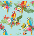 tropical flowers and birds seamless background vector image vector image