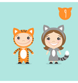 two happy cute kids characters Boy in tiger vector image vector image