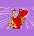 valentine day man in love with a red heart vector image
