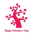 Valentines day vintage red tree with hearts icon vector image