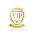 vip logo design luxury golden badge for club vector image vector image