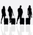 woman with travel baggage vector image vector image