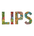 word lips decorative zentangle object vector image vector image