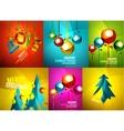 Glossy Christmas cards set vector image