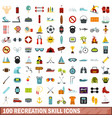100 recreation skill icons set flat style vector image vector image