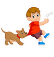 a cute dog is beating his owner cloth vector image vector image