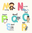 animal alphabets for children from m to s vector image