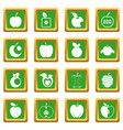 apple icons set green vector image vector image