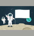 astronaut with blank flag banner on moon vector image vector image