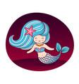 beautiful mermaid with long blue wavy hair and vector image vector image