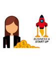 businesswoman money rocket business and start up vector image