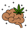 cannabis leaf with brain line icon vector image