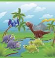 cartoon dinosaurs scene vector image vector image