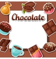 Chocolate background with various tasty sweets and vector image vector image