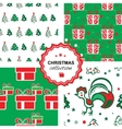 Christmas background with a rooster vector image vector image
